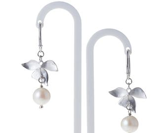 Wild Orchid Flower Earrings, Cultured Freshwater Pearl, Fit for Wedding