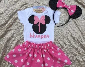 Minnie Mouse Birthday outfit - Minnie Mouse first birthday outfit -minnie mouse tutu - Minnie Mouse pink tutu - Minnie Mouse smash cake