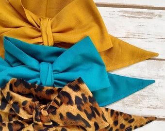 Gorgeous Wrap Trio (3 Gorgeous Wraps)- Golden, Teal & Lulu Leopard Gorgeous Wraps; headwraps; fabric head wraps; bows