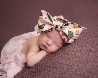 LIGHT PINK FLORAL Gorgeous Wrap- headwrap; fabric head wrap; floral head wrap; boho; newborn headband; baby headband; toddler headband