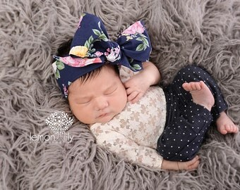 FRENCH NAVY FLORAL Gorgeous Wrap- headwrap; fabric head wrap; floral head wrap; boho; newborn headband; baby headband; toddler bow