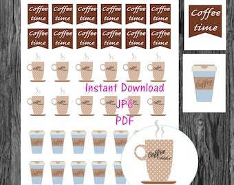 coffee planner Printable Stickers, coffee time Stickers, All Planner Styles, Planner Printable, Planner Stickers Active coffee icon