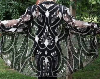 Vintage black and silver sequin beaded cover/jacket/XL