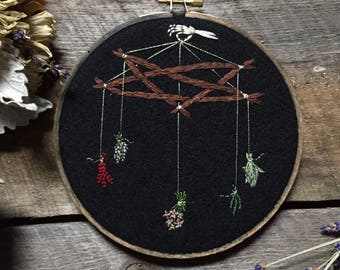 Pentagram Drying Herb Embroidery