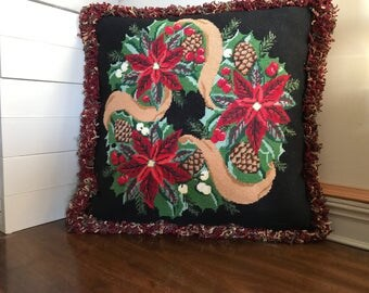 Traditional Christmas Wreath Needlepoint Pillow