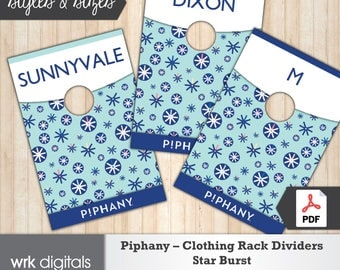 Piphany Clothing Rack Dividers, Size Chart, Style Cards, Star Burst Design, Fashion Stylist, Direct Sales, INSTANT DOWNLOAD