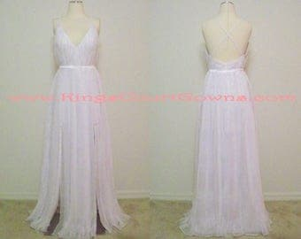 Replica Sexy Pleated Chiffon Deep V-Neck Gown With Criss-Cross Back Dual Front Slits Beach Wedding Dress Prom Pageant Evening Gown