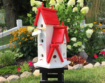 Large Handcrafted Wooden Birdhouse Condo Outdoor Bird House