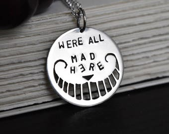Alice in Wonderland Pendant,Cheshire Cat Pendant, Sterling Silver