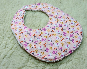 double pink organic cotton baby bib Terry