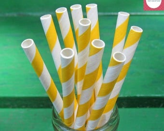 ON SALE Yellow Paper Straws, 50 Yellow Straws, Party Straws, Paper Straws, Striped Paper Straws, Yellow and White Party, Party Decoration