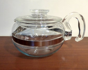 Pyrex Flameware clear glass teapot - original from the 1960s