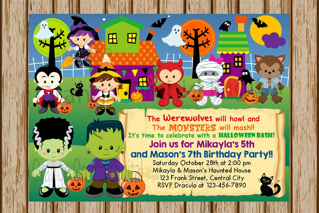 Kids Halloween Party Invitation Sibling Halloween Birthday Party – Kids Halloween Birthday Party Invitations