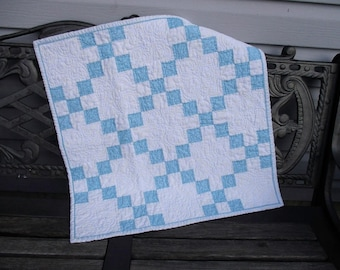 Newborn Baby Quilt, White Blue Traditional Nine Patch Quilt, Quilted Table Topper for Easter/Spring, Square Runner, Photo Prop, Shower Gift