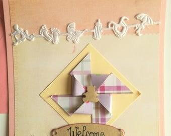 Little bear girl birth card