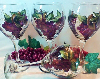 Set of Four Hand Painted Wine Glasses with Clusters of Grapes