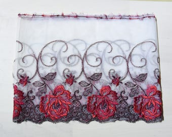 """soft lace Fabric one yard  red white 8"""""""