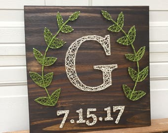 Made to Order String Art Initial Sign with Wedding Date and Laurel Wreath