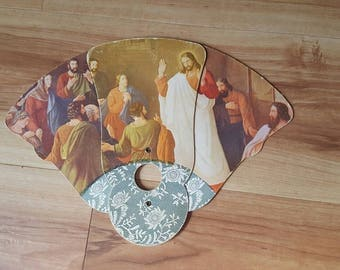 Advertising church fan. Jesus and the Disciples