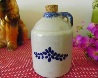 Vintage Spongeware Pitcher, Jug - Made In China - Country Blue