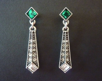 Emerald Earrings Art Deco Earrings Great Gatsby Vintage Earrings Art Nouveau Drop Earrings Downton Abbey Downtown Abbey Bridal Weddding