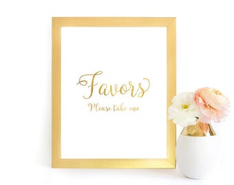 Wedding Favors Sign, Printable Favors Sign, Shower Favors Sign, Faux Gold Foil Wedding Sign, Favors Wedding Sign, GFWF, INSTANT DOWNLOAD
