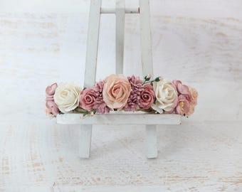 Mauve blush pink off white wedding flower crown - head wreath - bridesmaid hair accessories - flower girls - garland