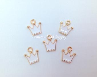 12mm White Crown Charms , White Tiara Charms,  White Crown Charm, Tiara Charm, Crown Charm, Tassel Necklace Charm
