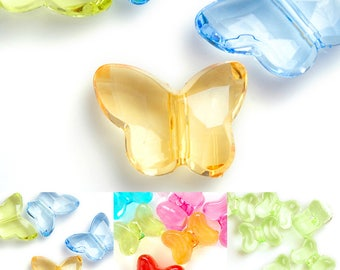 20pcs Transparent Acrylic Beads Butterfly Spacer Beads diy Jewelry Bracelet Necklace 14x18x7mm/16x12x9mm, 3 Styles, V-ARSET05