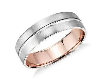 Men's Matte Inlay Wedding Ring - 6mm Wide - Wedding Ring in Platinum and 18k Rose or Yellow Gold (6mm) -