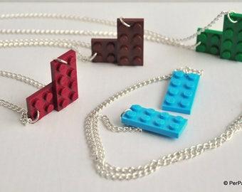 Original LEGO ® bricks with metal chain necklace