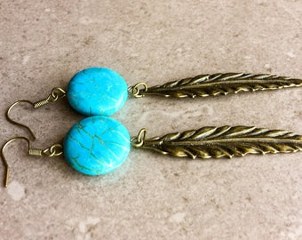 Turquoise  earrings. Blue earrings.
