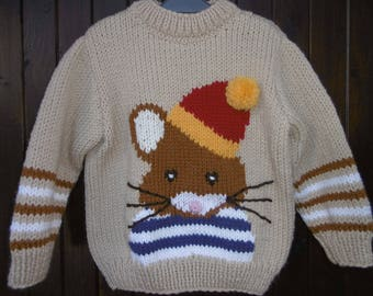 Hand knitted boy sweater bookworm pattern 2-6 years