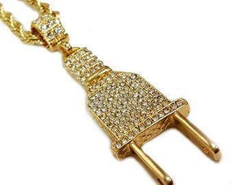 """18k Gold Plated Iced Out Electric Plug Pendant Necklace with 24"""" Rope Chain"""
