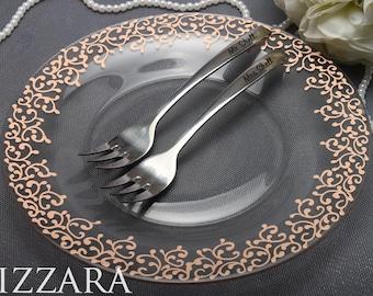 plate for bride and groom cake accessories Wedding Set Cake wedding gift ideas Peach wedding blush pink forks and plate Wedding Forks set