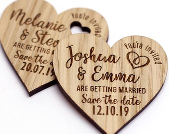 Save The Date Magnets Personalised Rustic Wedding Save The Date Wooden Oak Hearts Custom Rustic Wood Save the Date Magnets