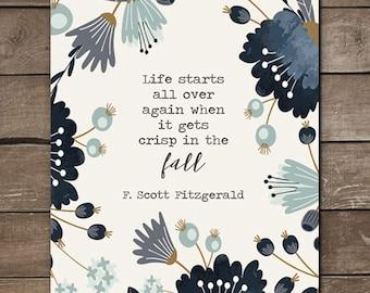 F. Scott Fitzgerald Fall Print, Wall print