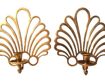 Brass Fan Candle Sconces, Pair