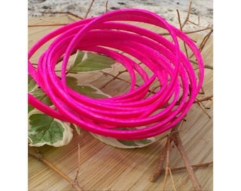 1 meter of 5mm flat leather pink neon high quality
