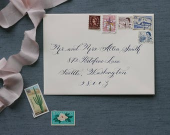Formal, Flourished Calligraphy Envelope Addressing for Wedding/Holidays/Save the Dates