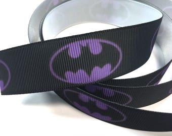 7/8 inch Superhero on Purple on black  - SUPER HERO - Super heroes -  - Printed Grosgrain Ribbon for Hair Bow