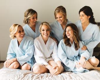 Short Kimono Waffle Weave Robes - Bridesmaid Robes, Bridesmaid Gift, Wedding Robes, Monogrammed Gift, Bridesmaid Robes Set, Bridal Robe