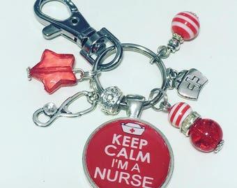 Nurse keyring, Nurse keychain, Keep calm i'm a nurse,  Nurse gift, RCN, Nursing gift