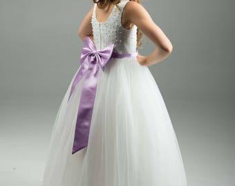 Purple Lavender Flower Girl Dress -- Lavender Floor Length Tulle Dress -- Girls Tulle Dress