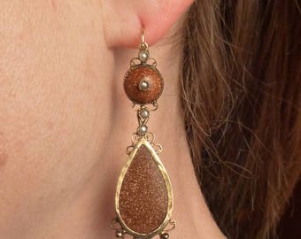 14K Goldstone Night and Day front loader earrings