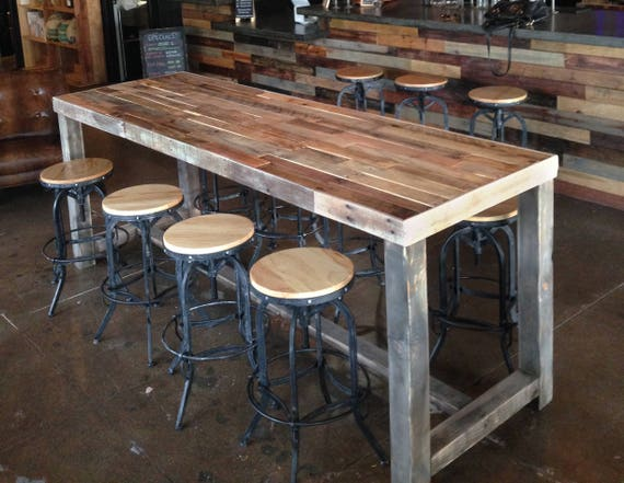 Reclaimed Wood Bar Restaurant Counter Community Rustic Custom