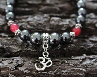 Stone bracelet, hematite, agate, om (aum) charm
