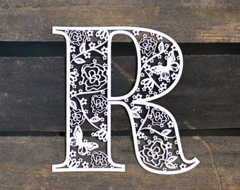 Unframed Butterfly Floral Letter Laser Papercut Print - any letter available!
