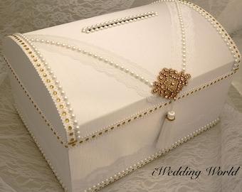 Wedding Card Holder, Money Box For Wedding, Gold and White Wedding Card Holder, Treasure Chest Money Box, Custom wedding Box