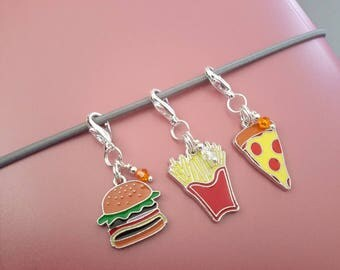 Fast Food Zipper Pull-Metal Enamel Hamburger Pink Donut French Fries Pizza Ice Cream Cone Sandwich-Midori Travelers Notebook Planner Charm